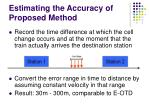 estimating the accuracy of proposed method