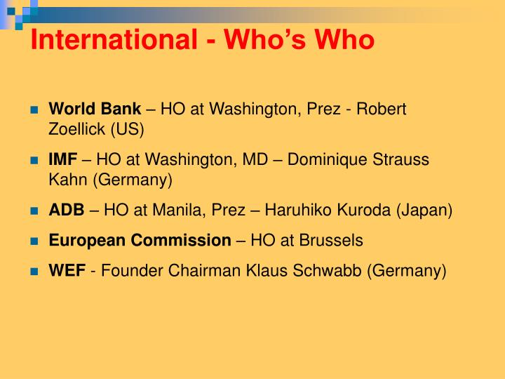International - Who's Who