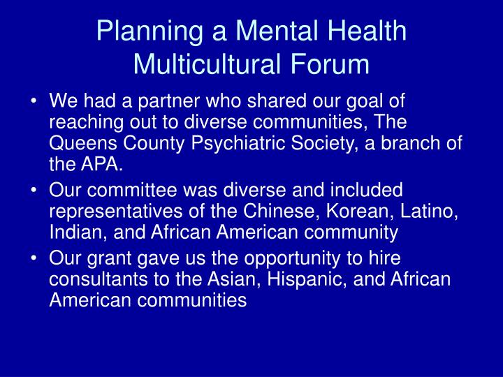Planning a Mental Health Multicultural Forum