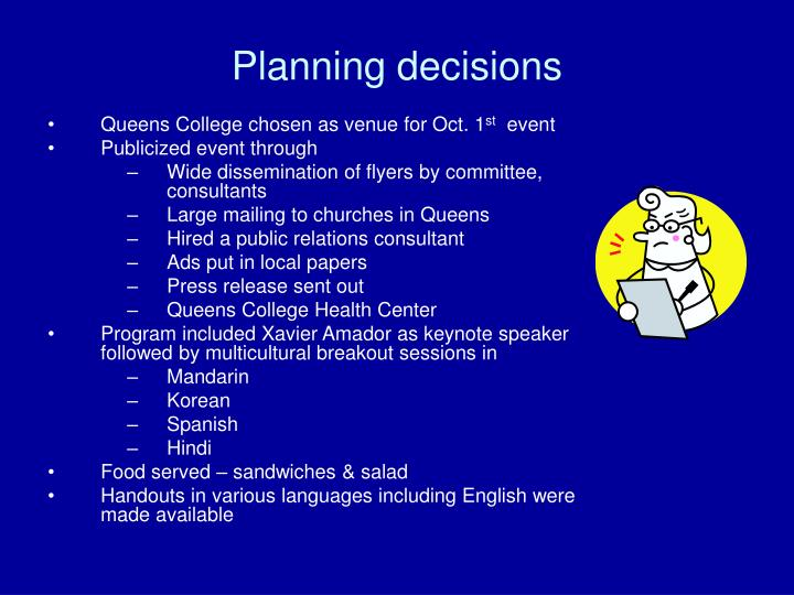 Planning decisions