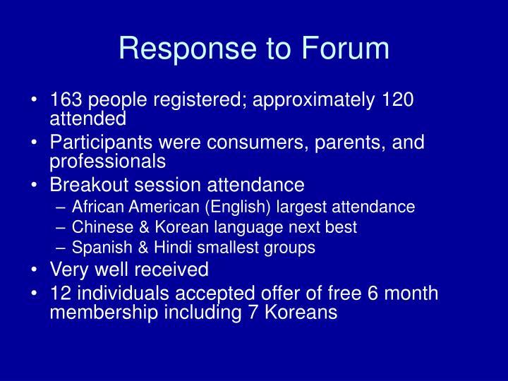 Response to Forum