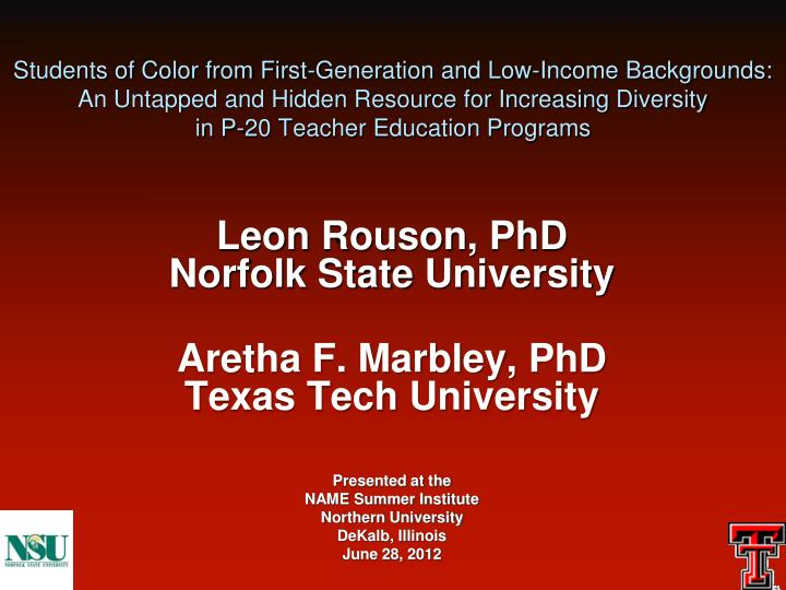 Students of Color from First-Generation and Low-Income Backgrounds: