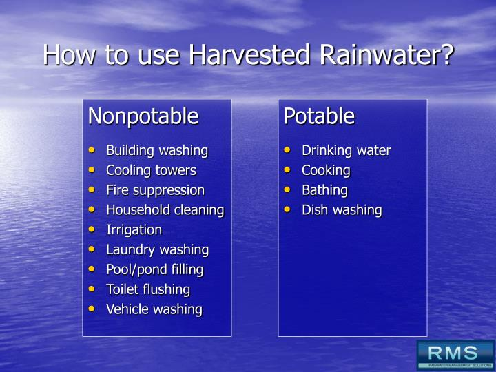 How to use Harvested Rainwater?
