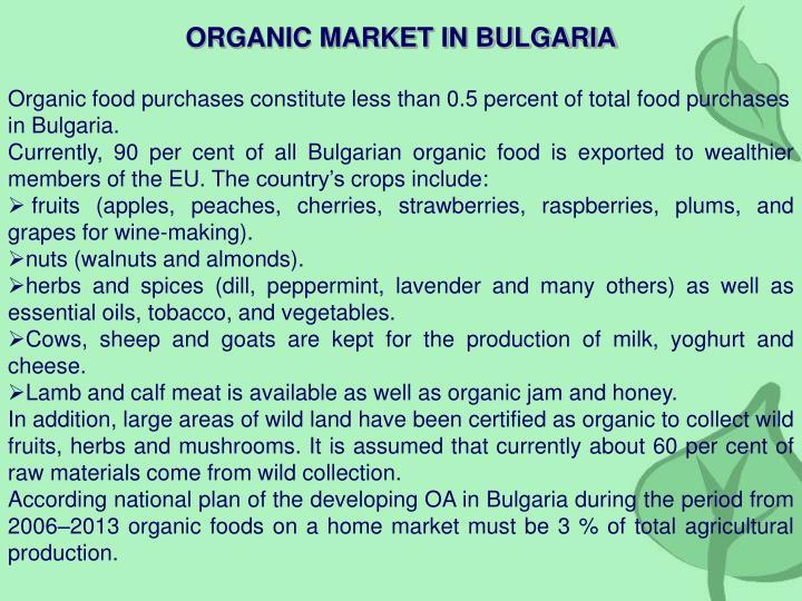 ORGANIC MARKET IN BULGARIA