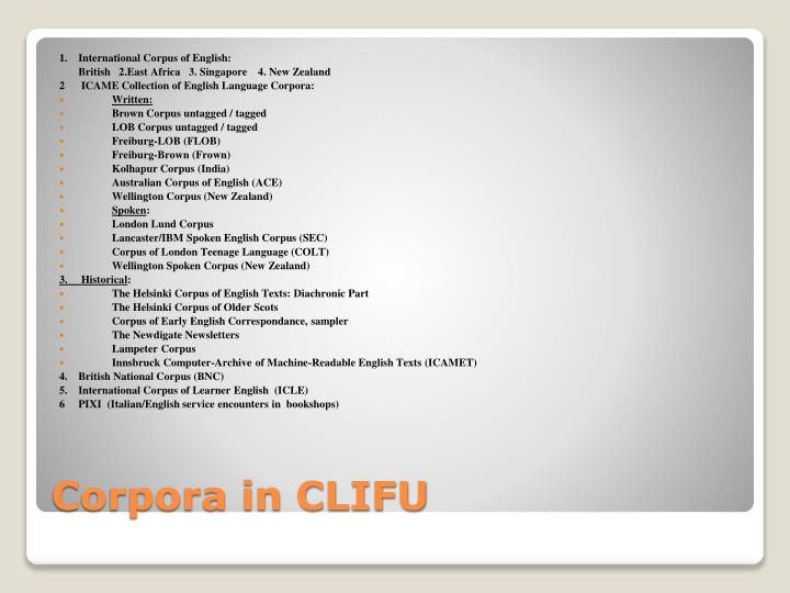 1.    International Corpus of English: