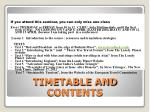 timetable and contents