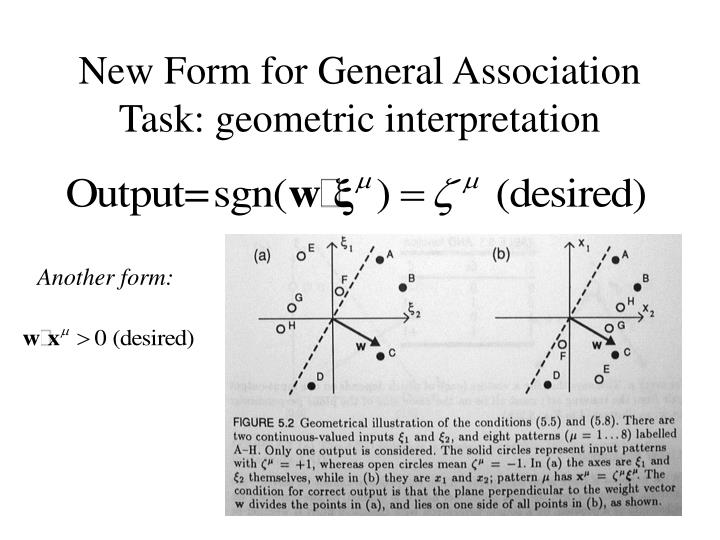 New Form for General Association Task: geometric interpretation