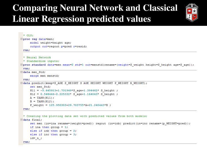 Comparing Neural Network and Classical Linear Regression predicted values