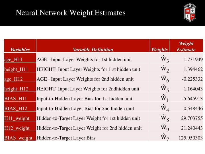 Neural Network Weight Estimates
