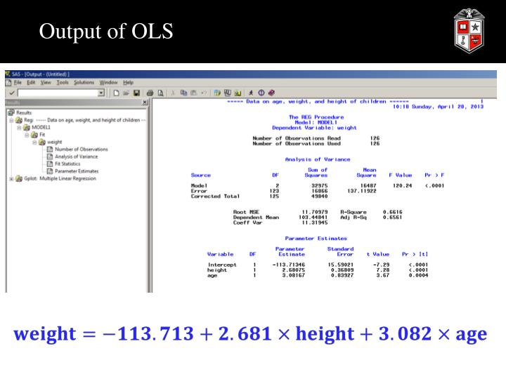 Output of OLS