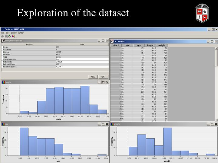 Exploration of the dataset