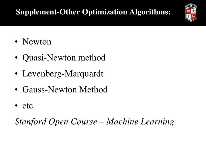 Supplement-Other Optimization Algorithms: