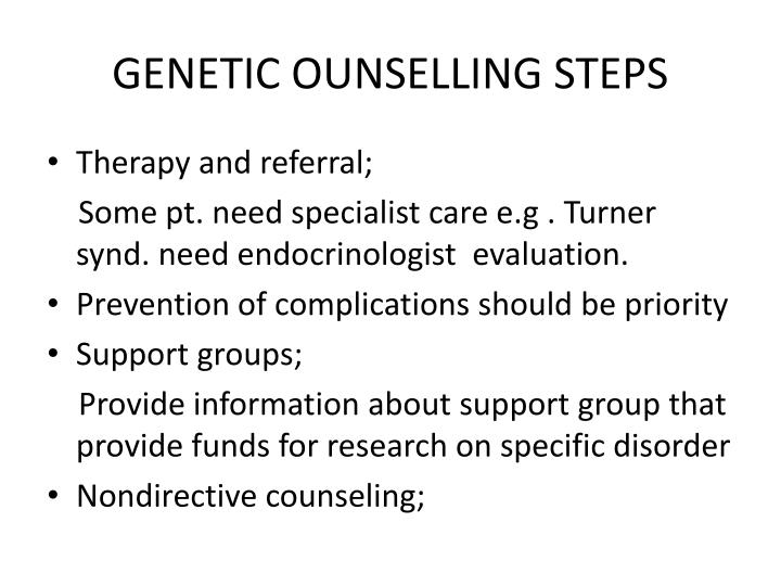 GENETIC OUNSELLING STEPS