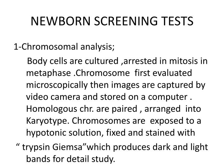 NEWBORN SCREENING TESTS