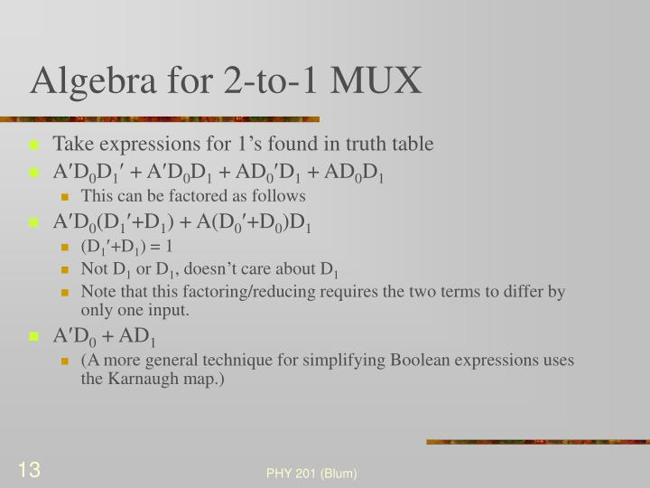 Algebra for 2-to-1 MUX