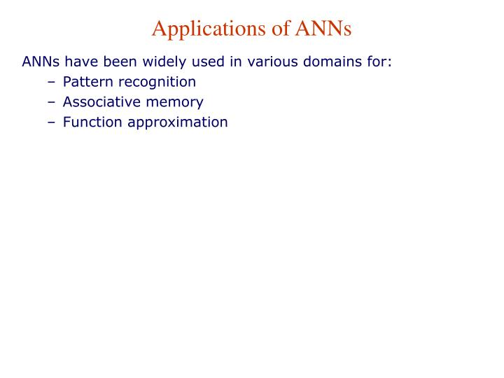 Applications of ANNs