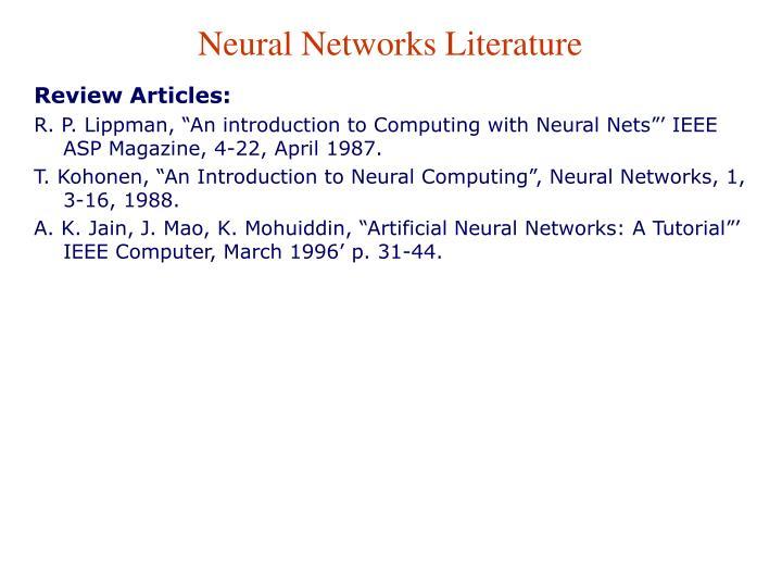 Neural Networks Literature