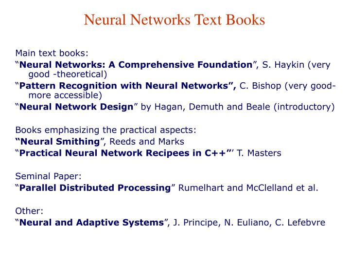 Neural Networks Text Books