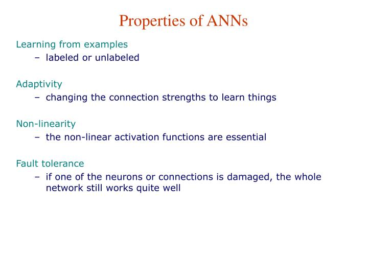 Properties of ANNs
