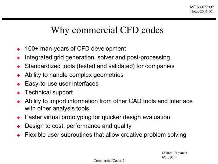 Why commercial CFD codes