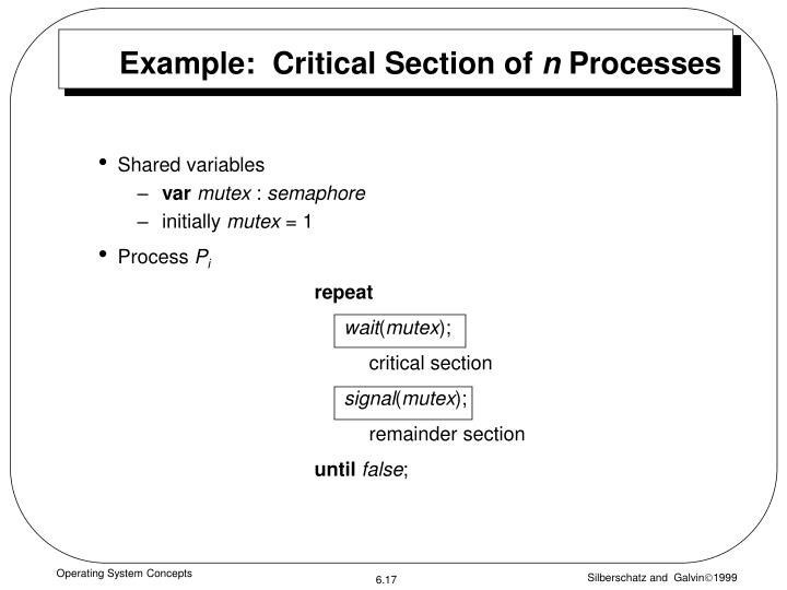 Example:  Critical Section of