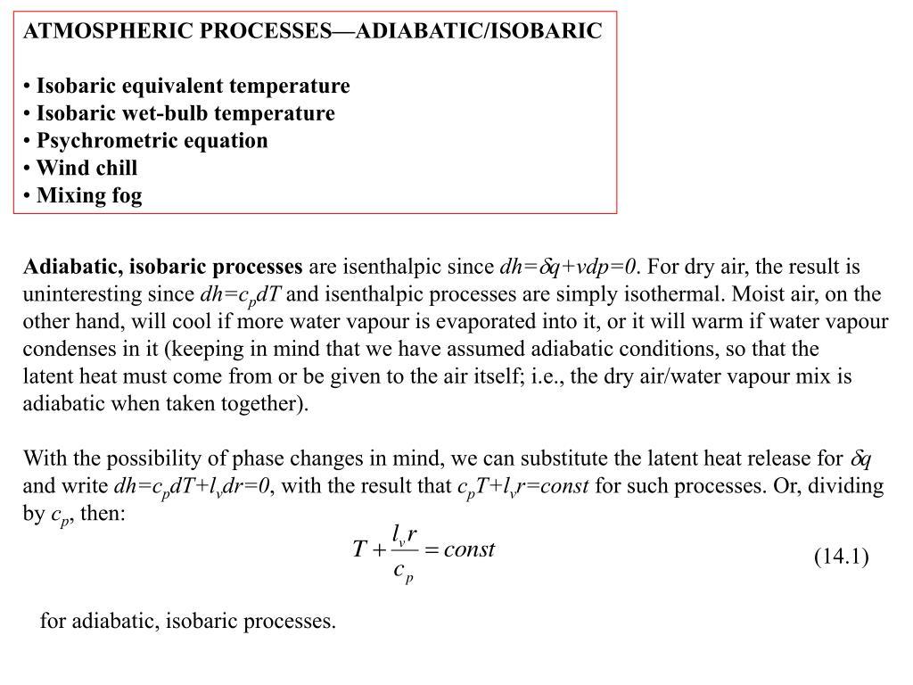 ATMOSPHERIC PROCESSES—ADIABATIC/ISOBARIC