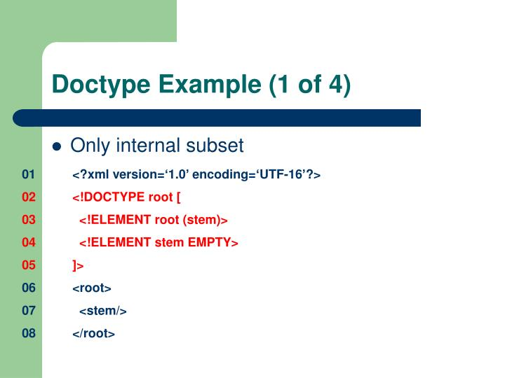 Doctype Example (1 of 4)