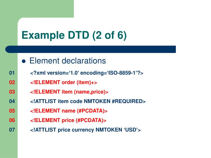Example DTD (2 of 6)