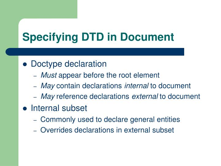 Specifying DTD in Document