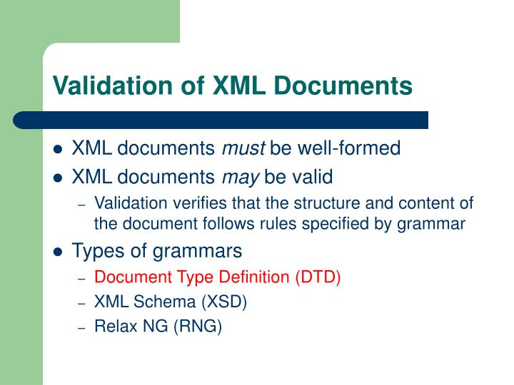 Validation of XML Documents