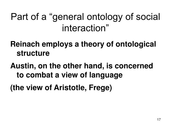"Part of a ""general ontology of social interaction"""
