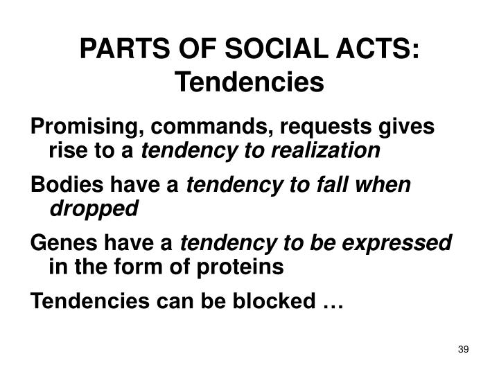 PARTS OF SOCIAL ACTS: Tendencies