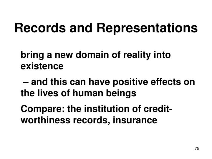 Records and Representations