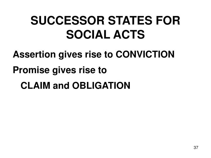 SUCCESSOR STATES FOR SOCIAL ACTS