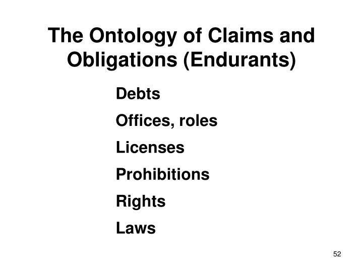 The Ontology of Claims and Obligations (Endurants)