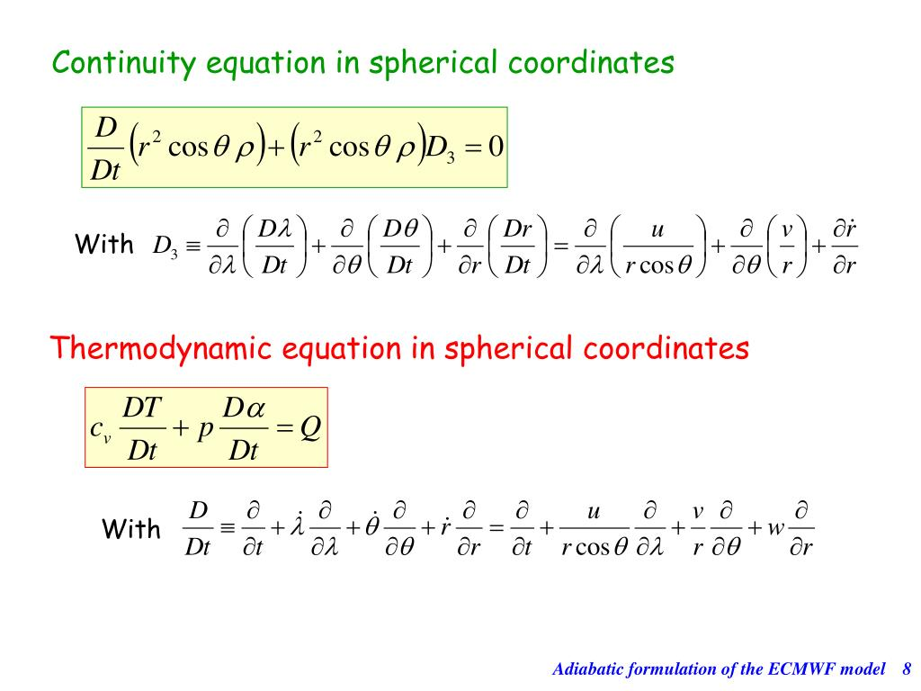 Continuity equation in spherical coordinates
