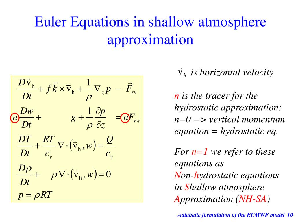 Euler Equations in shallow atmosphere approximation