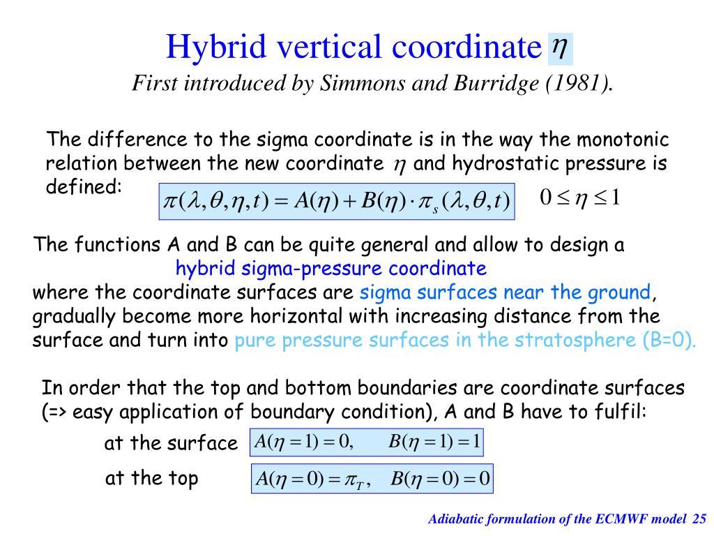 Hybrid vertical coordinate