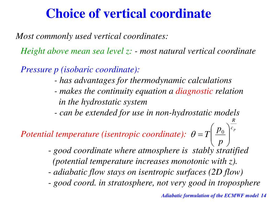 Potential temperature (isentropic coordinate):