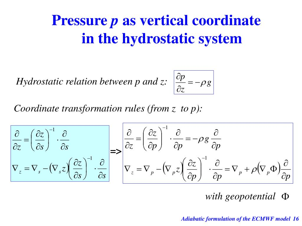 Hydrostatic relation between p and z: