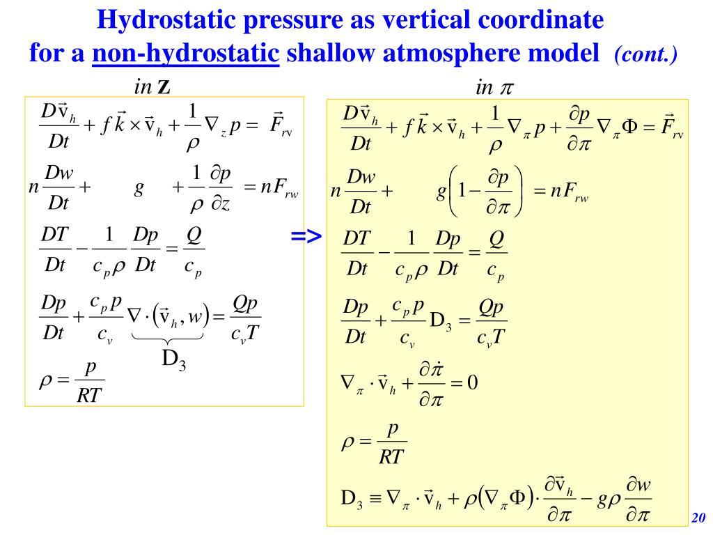 Hydrostatic pressure as vertical coordinate