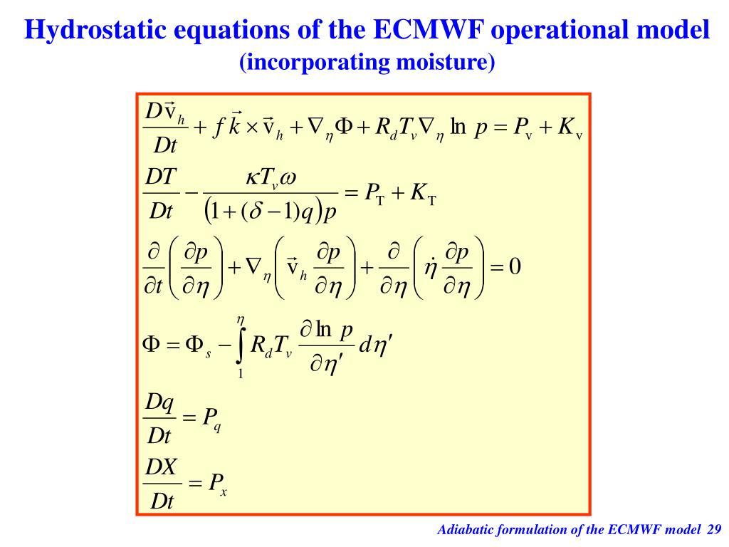 Hydrostatic equations of the ECMWF operational model
