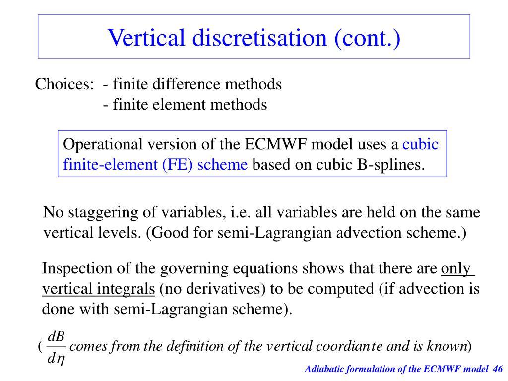 Vertical discretisation (cont.)