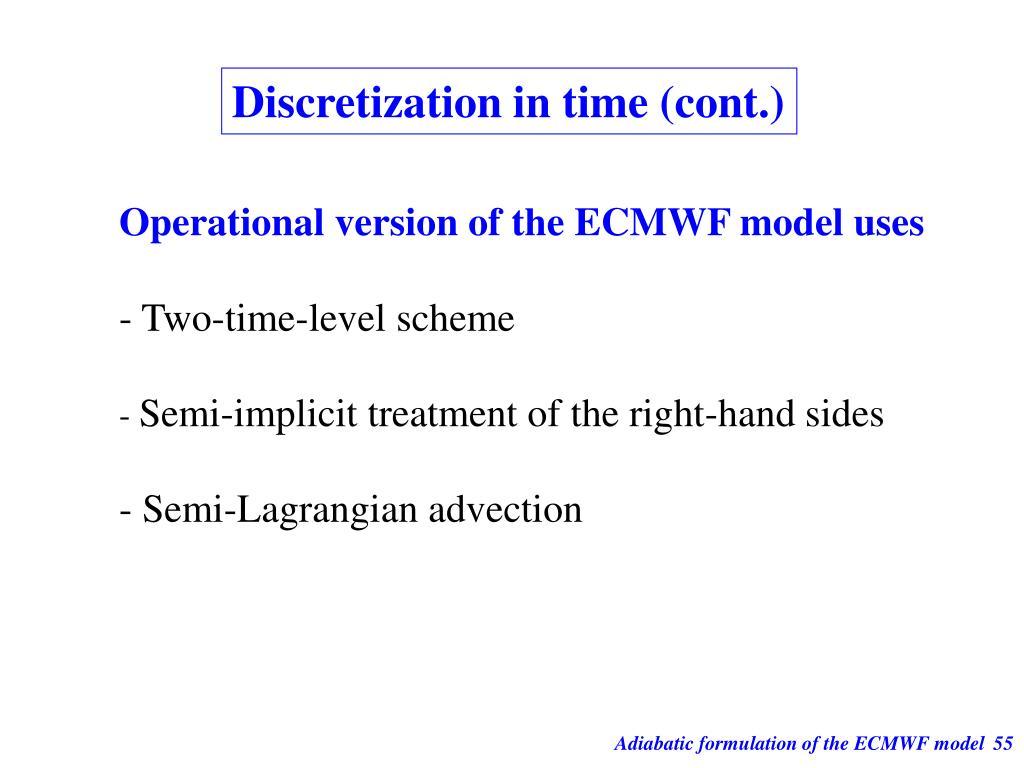 Discretization in time (cont.)