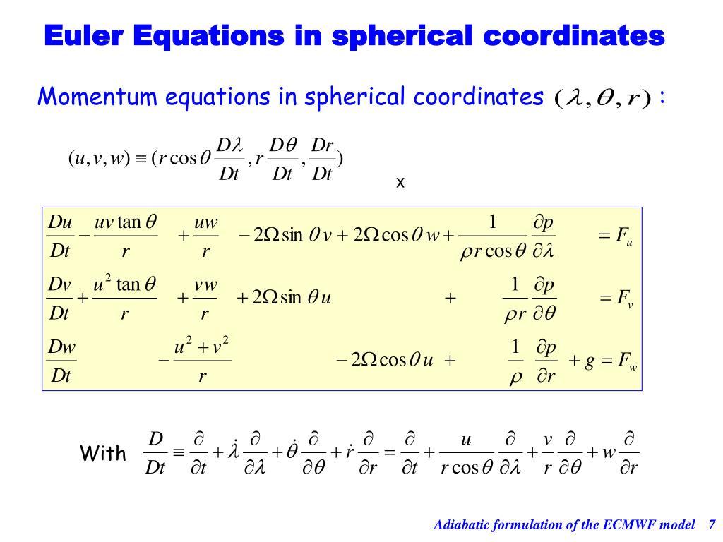 Momentum equations in spherical coordinates                :