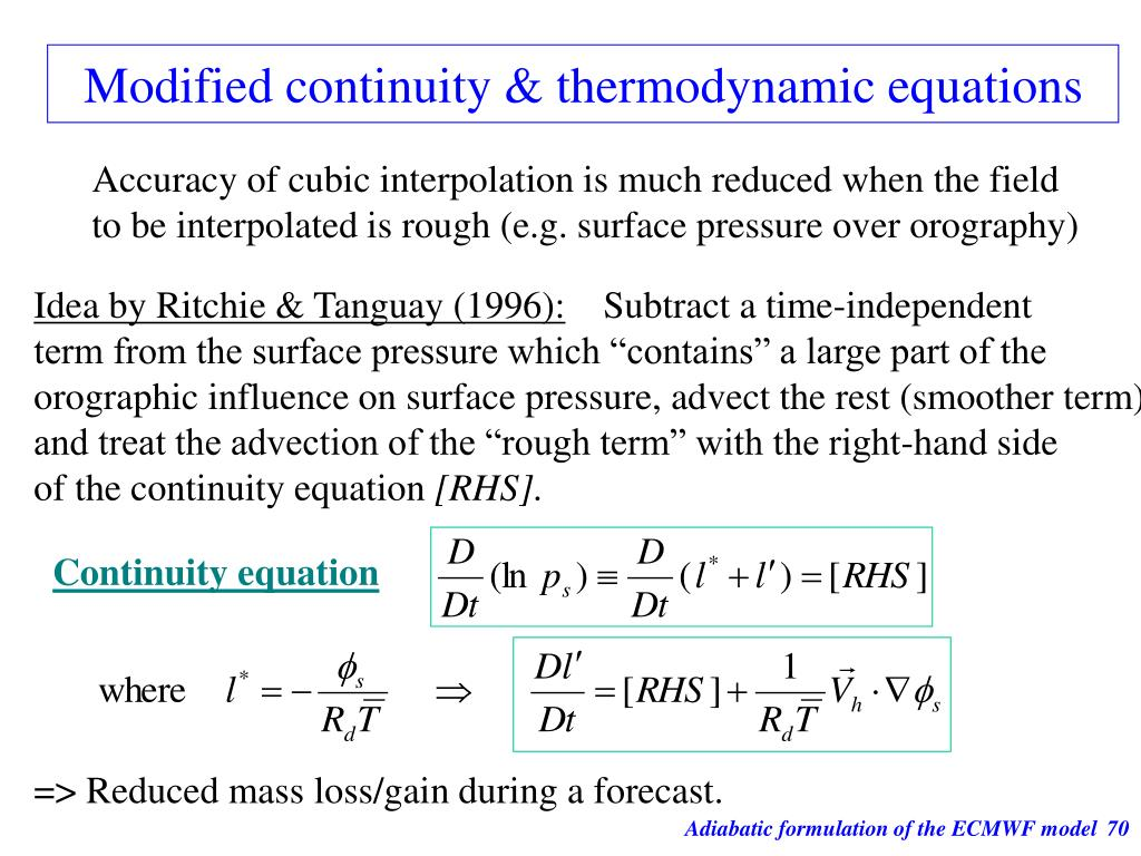 Modified continuity & thermodynamic equations