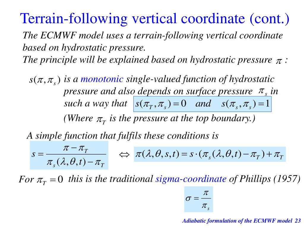 Terrain-following vertical coordinate