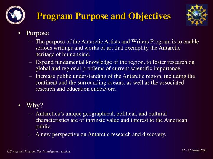 Program Purpose and Objectives