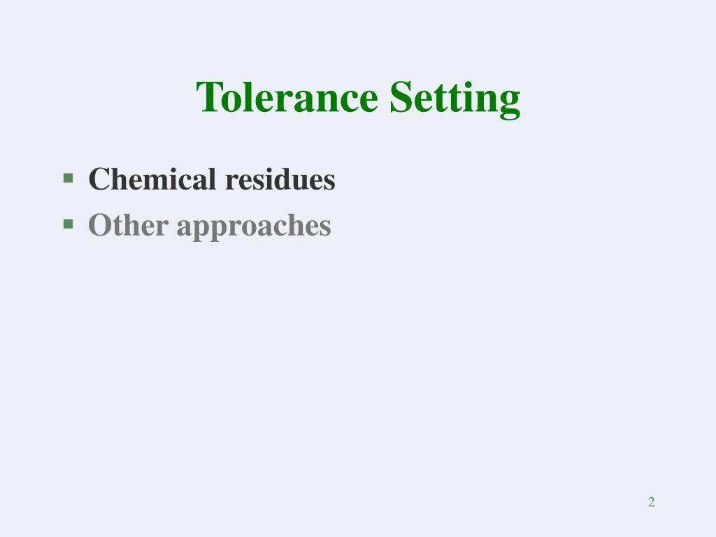 Tolerance Setting