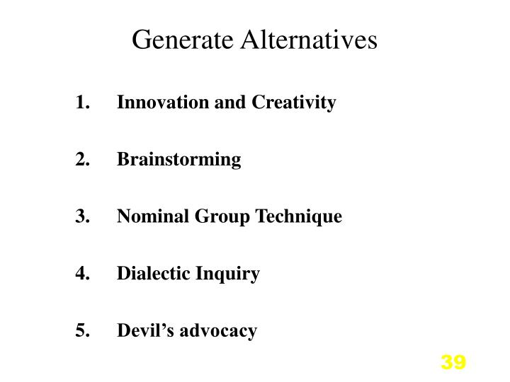 Generate Alternatives